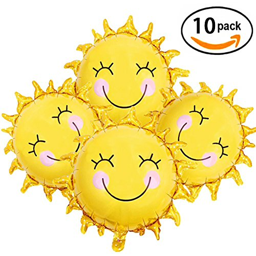 28 Inch Sunshine Sun Smile Face Shaped Foil Mylar Balloons Helium Balloon Happy Birthday Sunny Summer Day Theme Party Supplies Wedding Decorations Sun Foil