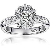 Fashion platinum zircon 925 silver plated fashion jewelry wedding ring size 6-9 BySumanee (8)