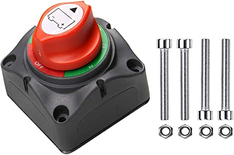Dual Battery Selector Switch Disconnect for Marine Boat Rv Vehicles 1-2-Both-Off