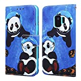 EnjoyCase Wallet Case for Galaxy S9,Colorful Sea Panda Pattern Pu Leather Bookstyle Card Slots Magnetic Flip Cover With Hand Strap for Samsung Galaxy S9