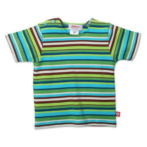 Zutano Unisex Baby  Multi Stripe Short Sleeve T Shirt, Chocolate, 12 Months