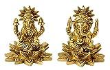 "Gangesindia Lakshmi Ganesh 3"" Brass Idols for Puja"