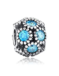 Studded Lights With Teal CZ Openwork 925 Sterling Silver Bead Fits Pandora Charm Bracelet