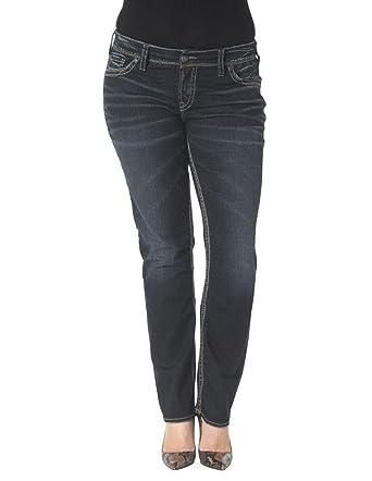 Silver Jeans Women's Plus-Size Suki Mid Rise Straight Leg Jean at ...