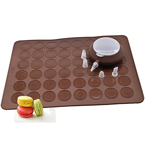 Macaroon Kit, Macaron, Macron French Cookie Bakery Baking Set, With 48 Slot Non-Stick Silicone Cooking Mat/Pan Liner And 4 Decomax Nozzle Tips For Frosting Cakes, Cookies, Brownies, and More, Brown. -