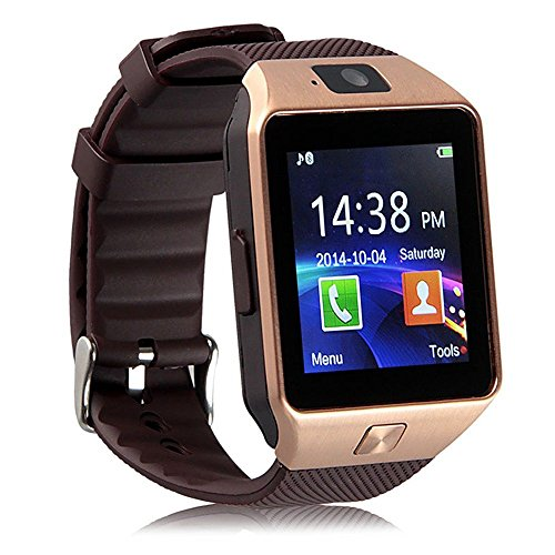 Pandaoo Smart Watch Mobile Phone DZ09 Unlocked Universal GSM Bluetooth 4.0 Music Player Camera Calendar Stopwatch Sync with Android Smartphones(Bronze)