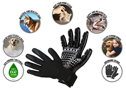 Pet Grooming Glove - Hair Remover Brush for Dogs, Cats & Horses with Long Short Fur | Gentle & Breathable Massage Bathing Brush Tool with Enhanced Five Finger Design by Pet Pet (Image #4)
