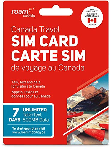 7 Day Canada Roaming SIM Card by Roam Mobility with 500MB LTE and Unlimited Talk+Text
