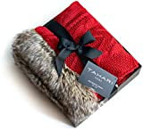 Tahari Home Lacy Cable Knit Throw with Faux Fur Trim Knitted Afghan Sweater Blanket Red Gift Box