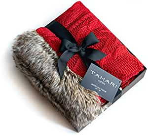 Amazon Com Tahari Home Lacy Cable Knit Throw With Faux