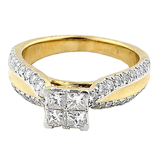 Midwest Jewellery 1cttw Diamond Princess Cut Engagement Ring Cathedral Style 10K Yellow Gold