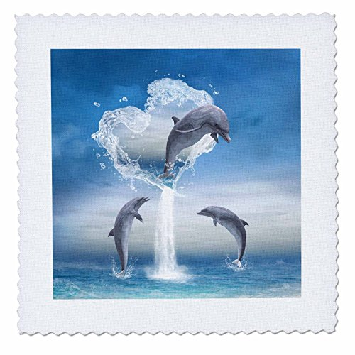 3dRose A Dolphin Jumps Out of A Water Heart Into The Ocean - Quilt Square, 12 by 12-Inch (qs_172929_4)