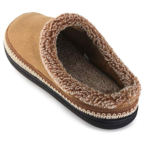 (ULTRAIDEAS Men's Cozy Memory Foam Moccasin Suede Slippers with Fuzzy Plush Wool-Like Lining, Slip on Mules Clogs House Shoes (X-Large / 13-14 D(M) US, Tan) )