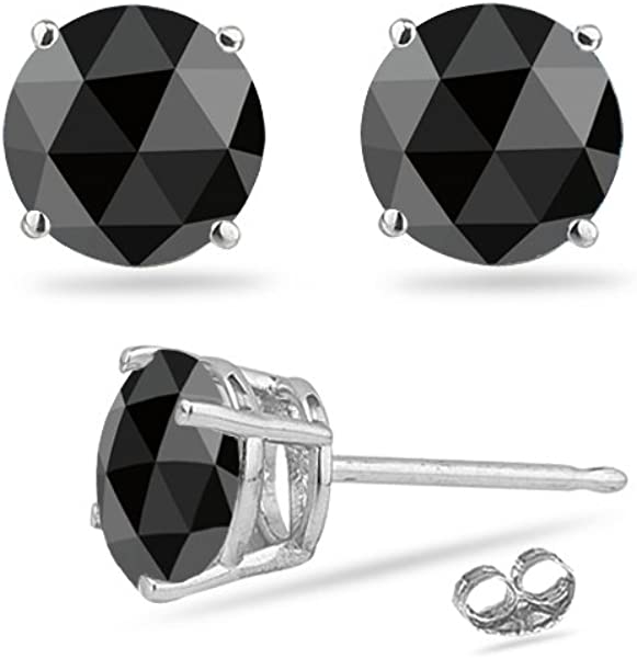 03d32baac Amazon.com: 2/3 (0.62-0.70) Cts of 4.1-4.5 mm AA Round Rose Cut Black  Diamond Stud Earrings in 14K White Gold: Jewelry