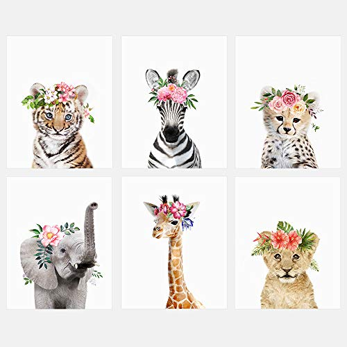 (Baby Safari Animals with Flower Crowns 8x10 Prints - Set of 6 - Adorable Furry Baby Animal Portrait - Tiger Cub, Zebra, Lion Cub, Elephant, Giraffe, Cheetah - Nursery Decor Unframed Prints)