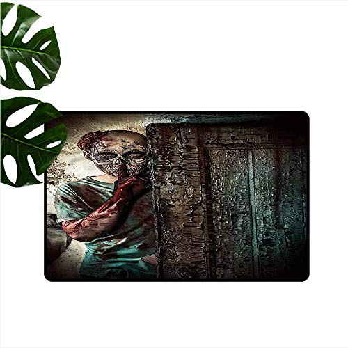DONEECKL Modern Door mat Zombie Evil Eyes Monster Hard and wear Resistant W16 xL24 ()