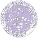"""24 STICKER: """"Schön, dass du da bist"""" Schöne Etiketten im """"Shabby Chic gestreiften Packpapier Retro Look"""" in zartem lila mit Herz und Ornamente (4 cm, rund, matt ) Für Gastgeschenke oder Tischdeko zu jedem Anlass"""