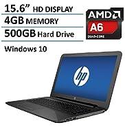 HP Pavilion 15 15.6-Inch Laptop (AMD Quad-Core A6-5200 , 4GB RAM, 500GB HDD, DVD+/-RW, Webcam, Wifi, HDMI,Windows 10),Black