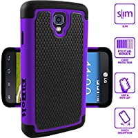 Elbolt LG Volt LS740 Silicon Dual Layer Armor Protective Case Cover Skin - Purple with Premium Screen Protector by ElBolt TM (Boost/Virgin/Sprint)