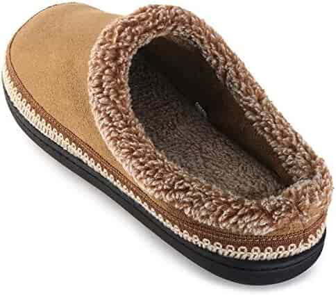 bb99652295fefd ULTRAIDEAS Men s Comfort Suede Fabric Memory Foam Fluffy Fleece Lined  Slippers Non Skid House Shoes W