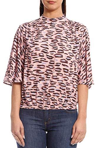 Blusa estampada com detalhe nas costas, Colcci, Feminino, Rosa (Rosa/Preto/Azul), P