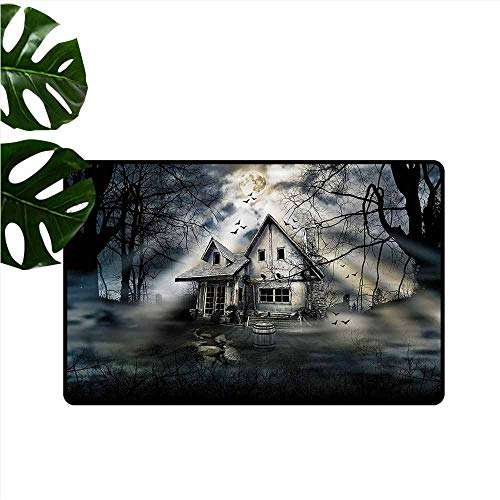 DUCKIL Entrance Door mat Halloween Haunted House Dark Horror Hard and wear Resistant W31 xL47