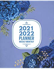 2021-2022 Planner Weekly Monthly: 12 Month Calendar Agenda & Academic Organizer July 2021 - July 2022 Motivational & Inspirational Quotes Blue Floral: Time Management Journal