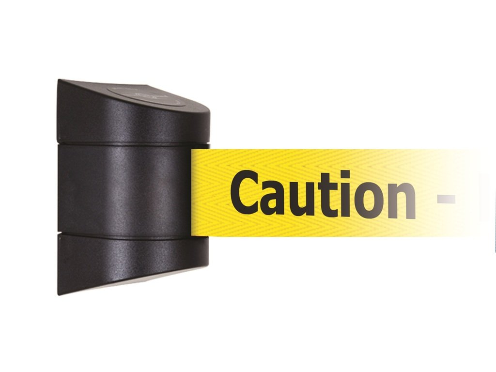 Tensabarrier 897-15-M-33-NO-YAX-D Wall Magnet Mount Black Caps, No Custom Yellow Webbing/Black ''Caution - Do Not Enter'' Magnet Belt End, 15'