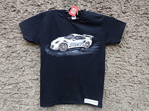 Sale!!!20% Off,Classic Porsche 911 GT3 RS, Mens Car T-shirt,Original Painting T-shirt, A Black Shirt with White Porsche, Shirt ''Fruit of the Loom'', size L. (Porsche 911 Turbo Gt3 Rs For Sale)