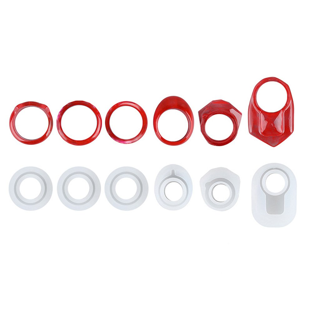 Yalulu 6Pcs Assorted DIY Ring Silicone Mold Jewelry Pendant Rings Resin Casting Mould for DIY Craft Making 4336899318