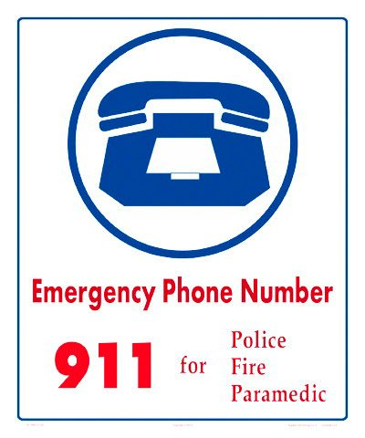 Emergency Phone Number 911 Sign (Measuring 10 x 12 Inches) (Heavy Duty White Aluminum)