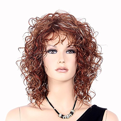 STfantasy Wigs for Women Short Curly Wavy Fluffy Layered Fashion Lolita Anime Cosplay Costume Synthetic Hair+Cap(14