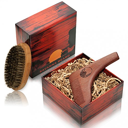 SAVANNA BEARD - Beard Brush and Comb Set - Red Sandalwood Beard Shaping Tool for Perfect Shaving Symmetry and 100% Boar Bristle Beard Brush in Stylish Package - Premium Grooming Kit - Perfect Gift
