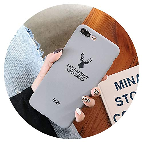 Ultra-Thin Matte Candy Color Phone Case for iPhone X XR XS MAX Fashion Back Cover Frosted Coque for iPhone 8 7 6 6s Plus 5 5S SE,Deer Gray,i6-i6S(4.7inch)