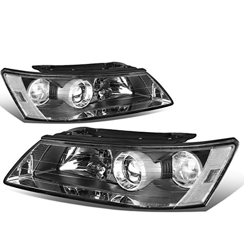 For Sonata 5th Gen NF Pair of Black Housing Clear Corner Projector Headlight ()