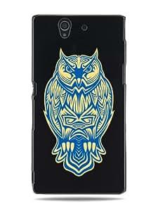 """GRÜV Case Design """"Poderoso Tatuaje de Búho Tribal"""" - Diseñador Mejor Calidad de Impresión en Funda Carcasa Rigida Negra - para Sony Ericsson Xperia Z L36h"""