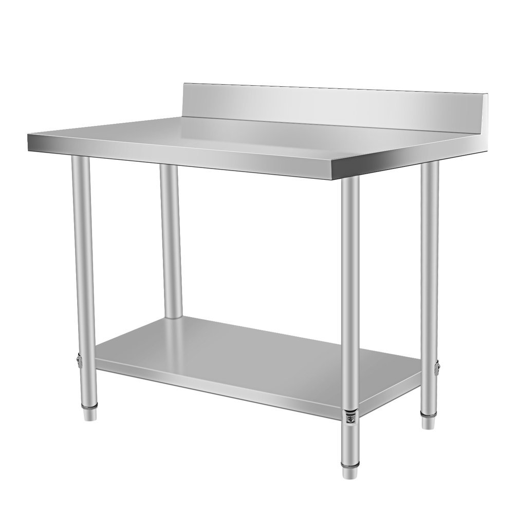 Sweepid Professioneller Edelstahl Arbeitstisch Gastro Edelstahltisch mit Aufkantung und unteren Ablagefläche Küchentisch (120x60x95cm)