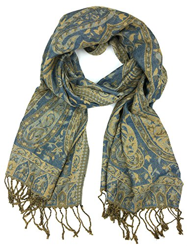 Plum Feathers Tapestry Ethnic Paisley Pattern Pashmina Scarf (Blue-Beige Tapestry)