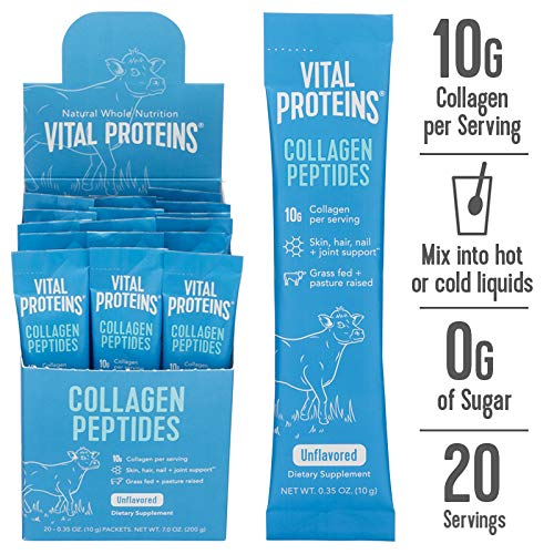 Collagen Peptide Powder Stick Supplement - 20ct - Vital Proteins Hydrolyzed Collagen on The go, Dairy Free, Gluten Free