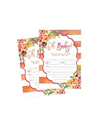 50 Fill in Cute Baby Shower Invitations, Baby Shower Invitations Floral, Pink and Gold, Neutral, Blank Baby Shower Invites for girl, Baby Invitation Cards Printable BOBEBE Online Baby Store From New York to Miami and Los Angeles
