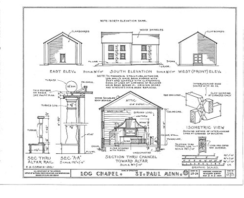 Historic Pictoric Blueprint Diagram 2. Elevations, Sections (chancel, Altar Rail, Typical Log), Isometric View of Interlocking logs - Log Chapel, Saint Paul, Ramsey County, MN 14in x 11in