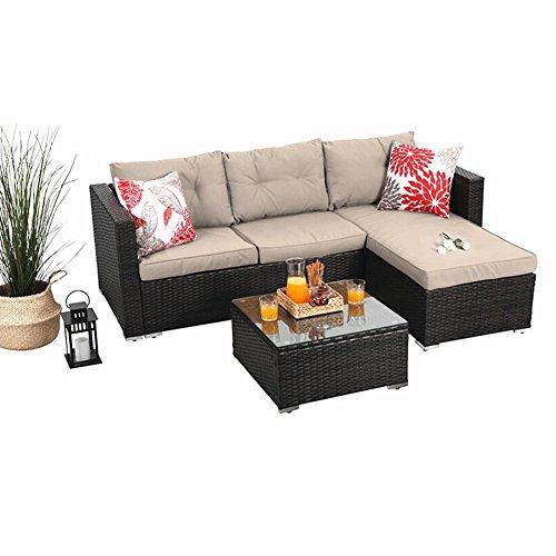 PHI VILLA 3-Piece Outdoor Rattan Sectional Sofa- Patio Wicker Furniture Set, Beige (Set Wicker Sofa Outdoor)