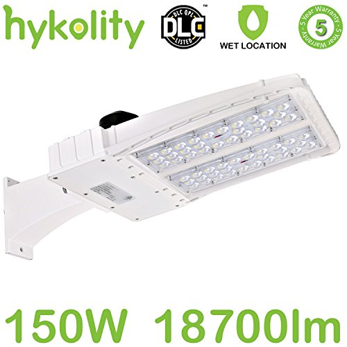 Hykolity 150W LED Parking Lot Light, White Finish LED Shoebox, 18700lm 5700k Photocell Optional Outdoor Waterproof Pole Mount light for Large Area Lighting [400w Equivalent] Arm mount ETL & DLC (Various Optional Finishes)
