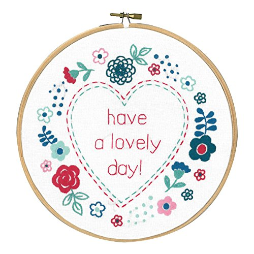 "Modern Flowers Lovely Day Stamped Embroidery Kit-8"" Round"