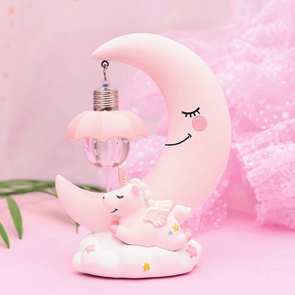 HEITIGN in resina per la cameretta dei bambini Lampada notturna a LED a forma di luna e unicorno idea regalo Blue colore: rosa