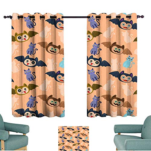 Warm Family Classical Curtain Halloween bat and cat Seamless Pattern Set of Two Panels -