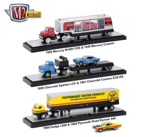 NEW 1:64 M2 MACHINES COLLECTION - AUTO-HAULERS WAVE 28 SEMI TRAILER TRUCK ASSORTMENT CHEVY DODGE MERCURY Diecast Model Car By M2 Machines Set of 3 (Set Dodge Truck)