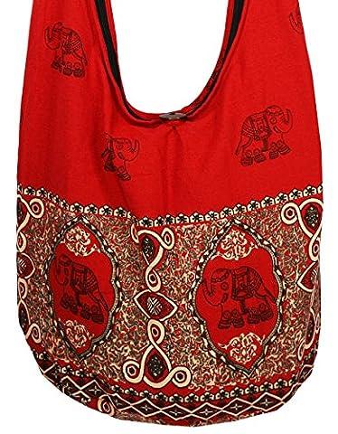 Lovely Creations's Hippie Boho New Elephant Crossbody Bohemian Gypsy Sling Bag Shoulder Bag Purse Thai Top Zip Handmade