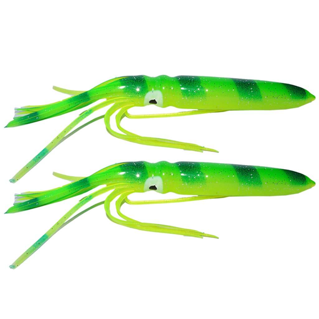 B Baosity 2pcs Leurres App/ât de P/êche aux Leurres en Forme de Pieuvre Convient pour Thon Marlin Wahoo