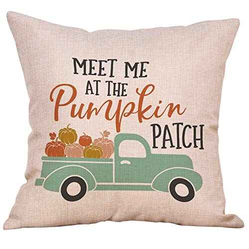 KACOPOL Happy Fall Y'all Vintage Truck Pumpkin Throw Pillow Covers Cotton Linen Thanksgiving Day Festival Gift Home Décor Farmhouse Pillow Case Cushion Cover 18